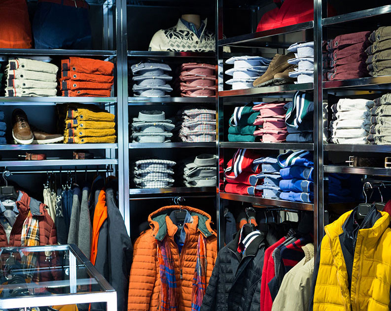 clothing store shelves
