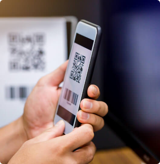 smart phone with qr code on the screen